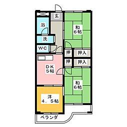 岡田マンションB[3階]の間取り