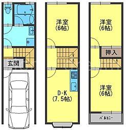 京阪本線 香里園駅 徒歩10分の賃貸一戸建て 1階3DKの間取り