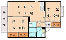 セジュール中央[1階]の間取り