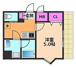 MATSUBOKKURIレジデンス(マツボックリ) 2階1Kの間取り