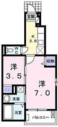 広島県福山市松浜町3丁目の賃貸アパートの間取り