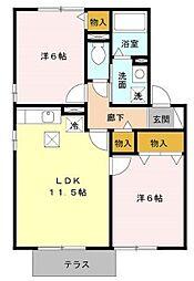 ハイム上野町 D[102号室号室]の間取り