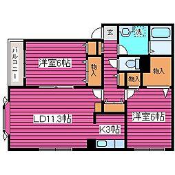 北海道札幌市北区太平六条3丁目の賃貸アパートの間取り
