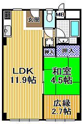 伝法団地3号棟[4階]の間取り