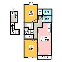アルハンブラ B[2階]の間取り