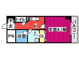 KDX定禅寺通レジデンス 8階1Kの間取り