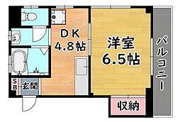 阪神本線 大石駅 徒歩10分の賃貸マンション 2階1DKの間取り