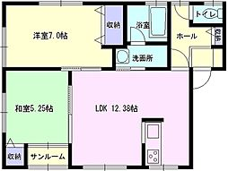 秋田県大仙市戸蒔字松ノ木の賃貸アパートの間取り