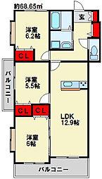 フェルト515 3階3LDKの間取り