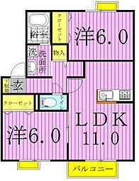 プリモ西白井B棟[2階]の間取り