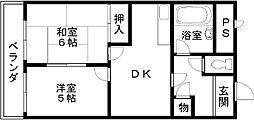 プレジデントハイツ東岸和田[401号室]の間取り