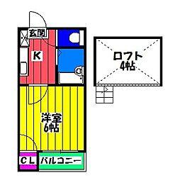 福岡県福岡市博多区上牟田1丁目の賃貸アパートの間取り