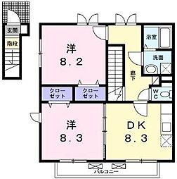 横浜市営地下鉄ブルーライン 下永谷駅 徒歩9分の賃貸アパート 2階2DKの間取り