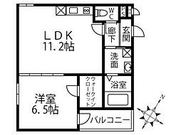 (仮称)フジパレス深井清水町 3階1LDKの間取り