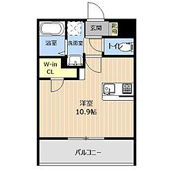 LIBTH本荘 2階ワンルームの間取り