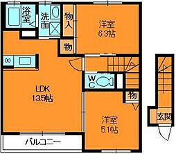 奈良県香芝市穴虫の賃貸アパートの間取り