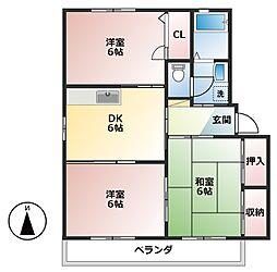 ラポール波須B[2階]の間取り