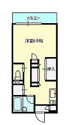 岡山県岡山市北区田中の賃貸アパートの間取り