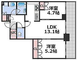 ブランズタワー梅田North 28階2LDKの間取り