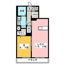 コンフォート平川 1階1LDKの間取り