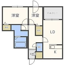 北海道札幌市中央区宮の森二条10丁目の賃貸マンションの間取り