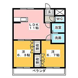 Chez−moi神畑[2階]の間取り