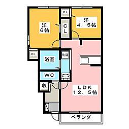 静岡県裾野市石脇の賃貸アパートの間取り