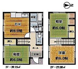 各居室6帖の広さです。リノベーションにより間取りの変更も可能です