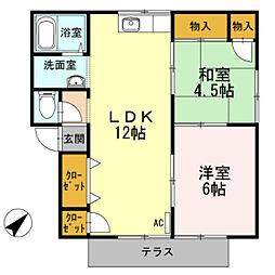 プレジールスミダ B棟[1階]の間取り
