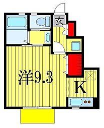 JR武蔵野線 市川大野駅 徒歩8分の賃貸アパート 1階1Kの間取り