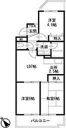 二俣川駅徒歩8分 ロイヤル二俣川B棟208号室[2階]の間取り