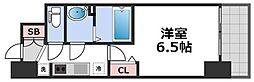 ララプレイス天王寺シエロ 13階1Kの間取り