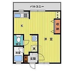パールマンション月ヶ丘[302号室]の間取り