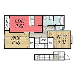 JR総武本線 八街駅 バス20分 吉倉入口下車 徒歩1分の賃貸アパート 2階2LDKの間取り