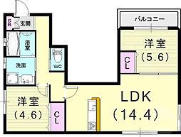 (仮)フィカーサ曾和町 3階2LDKの間取り