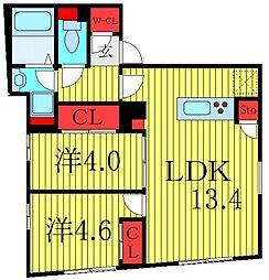 東京メトロ有楽町線 千川駅 徒歩7分の賃貸マンション 5階2LDKの間取り