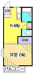 東京都国分寺市東元町3の賃貸アパートの間取り