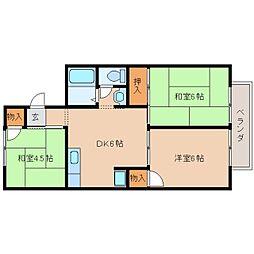 奈良県天理市備前町の賃貸アパートの間取り