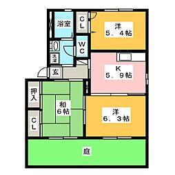 コスモハイツ F[1階]の間取り