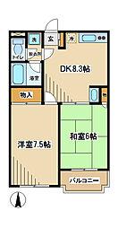 東京都府中市白糸台2丁目の賃貸マンションの間取り