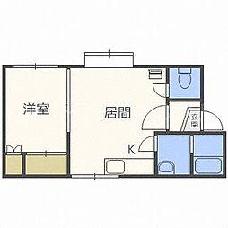 北海道札幌市豊平区平岸一条12丁目の賃貸アパートの間取り