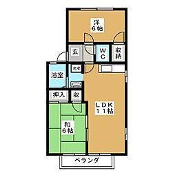 アーバン元郷B棟[2階]の間取り