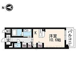 京都地下鉄東西線 山科駅 徒歩6分の賃貸マンション 1階1Kの間取り