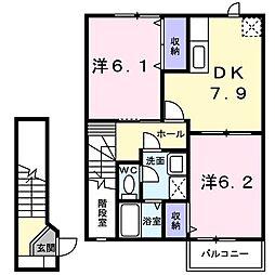 徳島県徳島市北矢三町2丁目の賃貸アパートの間取り