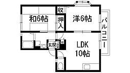 兵庫県宝塚市三笠町の賃貸アパートの間取り