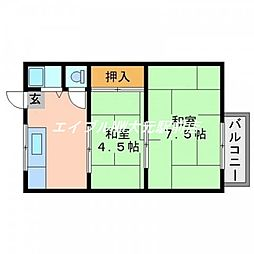 リバティーアパート[2階]の間取り