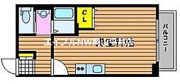 JR山陽本線 高島駅 徒歩28分の賃貸アパート 2階ワンルームの間取り