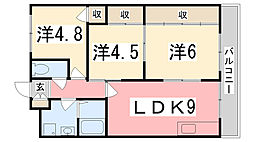 兵庫県加古川市東神吉町西井ノ口の賃貸マンションの間取り