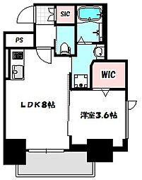 Osaka Metro谷町線 守口駅 徒歩1分の賃貸マンション 8階1LDKの間取り