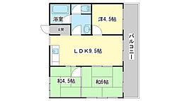 兵庫県姫路市飾磨区三宅2丁目の賃貸マンションの間取り